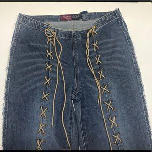 Vintage Younique original lace up bell bottoms
